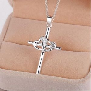 Jewelry - 925 Religious Cross Double Heart Sterling Necklace